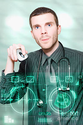 Portal Photograph - Futuristic Medicine Doctor Working With Interface by Jorgo Photography - Wall Art Gallery
