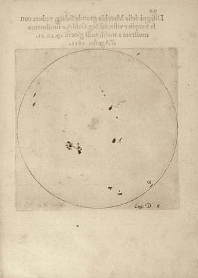Galileo's Observation Of Sunspots Print by Library Of Congress