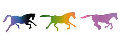 Animals Digital Art - Galloping Horses by The Art of Marsha Charlebois