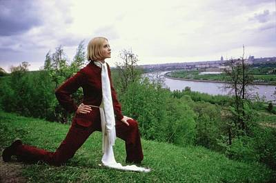 Photograph - Galya Milovskaya Wearing A Red Jumpsuit by Arnaud de Rosnay