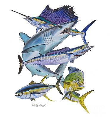 Gamefish Collage Art Print by Carey Chen