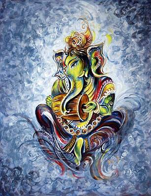 Devotional Painting - Musical Ganesha by Harsh Malik