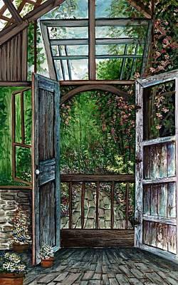 Shed Painting - Garden Backyard by Steven Schultz