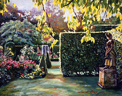 Bed Painting - Garden Statue by David Lloyd Glover