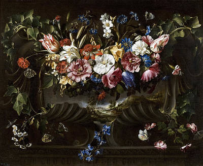 Garland Of Flowers In A Cartouche With A Landscape Behind Art Print