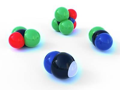 Atom Photograph - Gas Molecules by Indigo Molecular Images