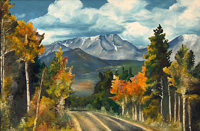 Snow Capped Painting - Gayle's Highway by Mary Ellen Anderson