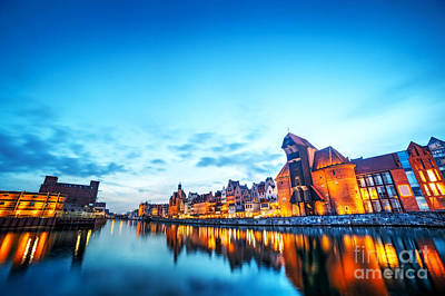 Photograph - Gdansk Poland Old Town Motlawa River And Famous Crane Polish Zuraw by Michal Bednarek