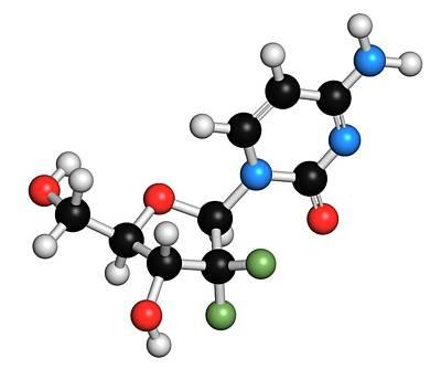 Chemical Photograph - Gemcitabine Cancer Drug Molecule by Molekuul