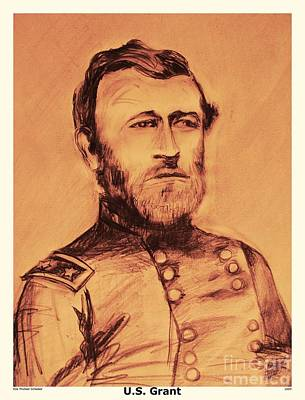 Us Grant Drawing - General Us Grant by Eric  Schiabor