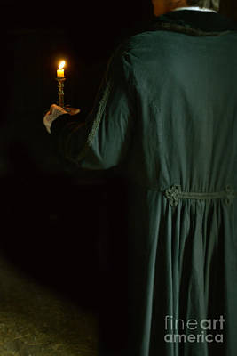 Candle Stand Photograph - Gentleman In 18th Century Clothing With A Candle by Jill Battaglia