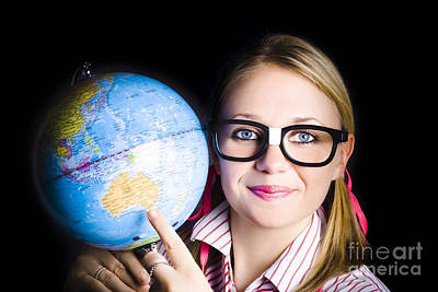 Geography School Student Learning About World Art Print by Jorgo Photography - Wall Art Gallery