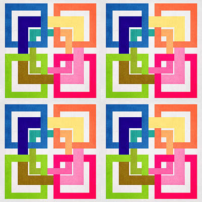 Abstract Patterns Digital Art - Geometric Colors  by Mark Ashkenazi