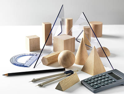 Large Group Of Objects Photograph - Geometric Shapes And Geometry Set by Tek Image