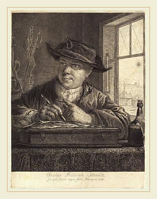 Self-portrait Drawing - Georg Friedrich Schmidt German, 1712-1775 by Litz Collection
