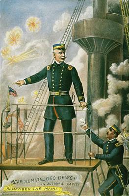 Spanish American War Painting - George Dewey, 1898 by Granger