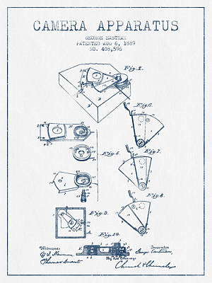Kodak Digital Art - George Eastman Camera Apparatus Patent From 1889 - Blue Ink by Aged Pixel