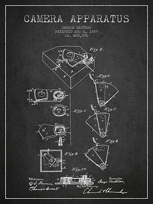 Camera Digital Art - George Eastman Camera Apparatus Patent From 1889 - Dark by Aged Pixel