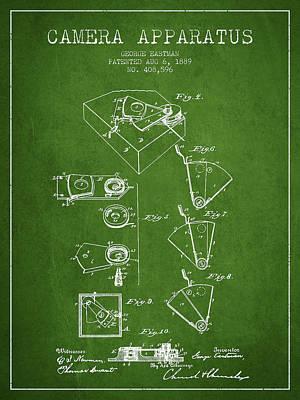 Kodak Digital Art - George Eastman Camera Apparatus Patent From 1889 - Green by Aged Pixel