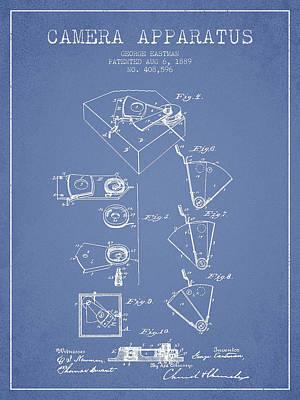 Kodak Digital Art - George Eastman Camera Apparatus Patent From 1889 - Light Blue by Aged Pixel