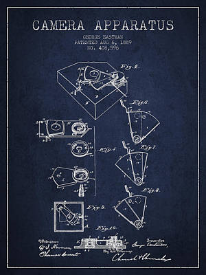 Camera Digital Art - George Eastman Camera Apparatus Patent From 1889 - Navy Blue by Aged Pixel
