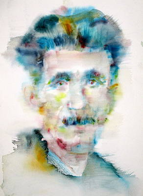 1984 Painting - George Orwell - Watercolor Portrait by Fabrizio Cassetta