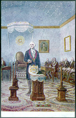Capitol Building Drawing - George Washington, President by Mary Evans Picture Library