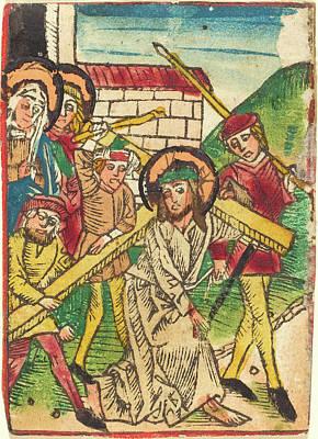 Light Orange Drawing - German 15th Century, Christ Bearing The Cross by Quint Lox