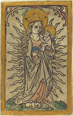 Peach Drawing - German 15th Century, Madonna And Child In A Glory Standing by Quint Lox