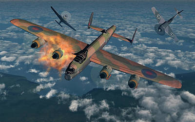 High Altitude Flying Photograph - German Fw-190 Fighter Planes Attacking by Mark Stevenson