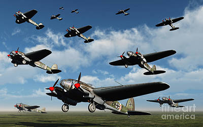 German Heinkel Bombers Taking Art Print