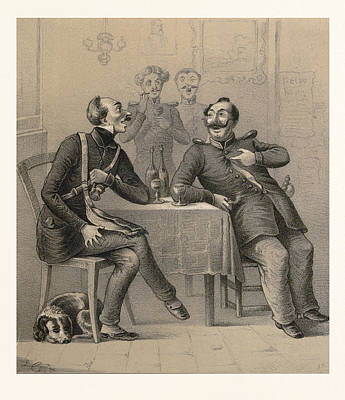 German Military Drinking A Glass Of Wine Art Print by German School