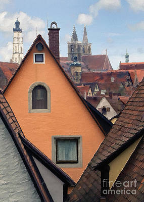 Photograph - German Rooftops Impasto by Sharon Foster