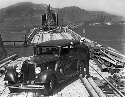 Photograph - Gg Bridge Under Construction by Underwood Archives