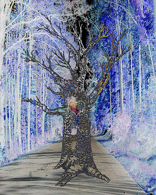 Ghost Tree With Heart Art Print
