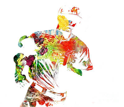 Outfielder Mixed Media - Giancarlo Stanton - Watercolor by Doc Braham