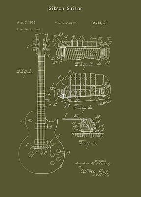 Gibson Drawing - Gibson Guitar Patent 1955 by Mountain Dreams