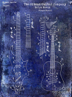 Neck Drawing - Gibson Guitar Patent Drawing Blue by Jon Neidert