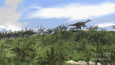 Running Digital Art - Gigantoraptor Running Across An Open by Kostyantyn Ivanyshen