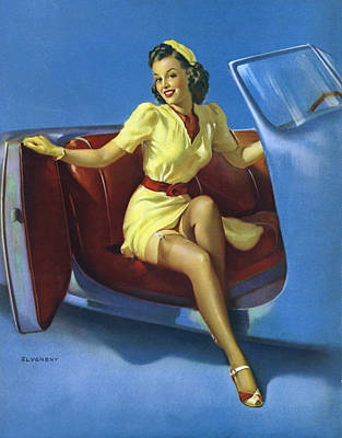 Brown Hair Photograph - Gil Elvgren's Pin-up Girl by Gil Elvgren