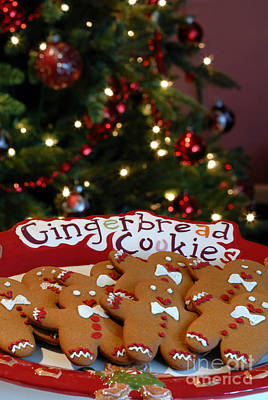 Gingerbread Cookies On Platter Art Print by Amy Cicconi