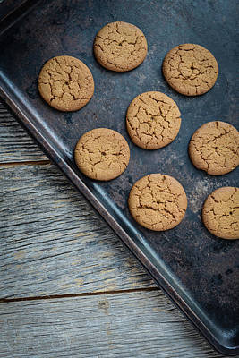 Ginger Snaps Photograph - Gingersnap Cookies For Christmas On A Baking Pan by Brandon Bourdages