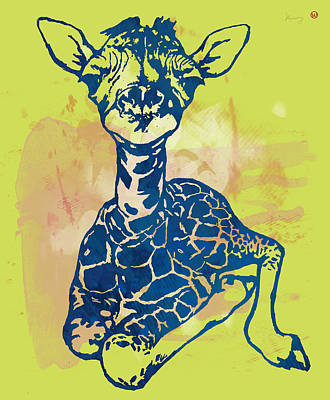 Family Of Colors Drawing - Giraffe - Stylised Pop Modern Etching Art Portrait by Kim Wang