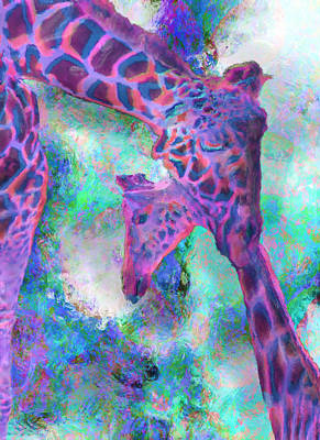 Computer Art Painting - Giraffes - Happened At The Zoo by Jack Zulli