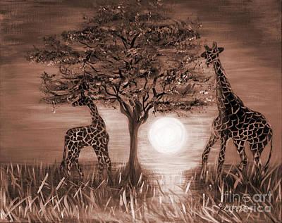 Painting - Art Created From Painting Giraffes  by Oksana Semenchenko