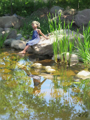 Girl At The Pond Art Print