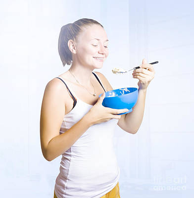 Candid Photograph - Girl Eating Breakfast In Apartment With Smile by Jorgo Photography - Wall Art Gallery