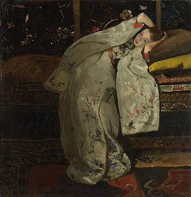 Bed Painting - Girl In A White Kimono by Celestial Images