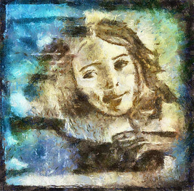 Drawing - Girl In Blue by Jennifer Woodworth