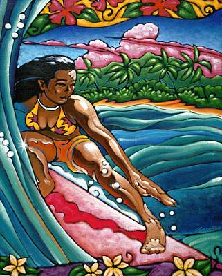 Surfer Girl Painting - Girl In Da Curl by Roger  Chandler